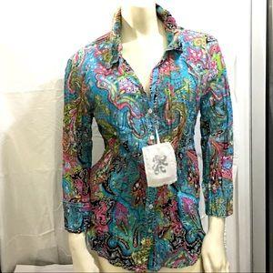 Chico's Cino Crinkle Shirt Multi Paisley Turq 2